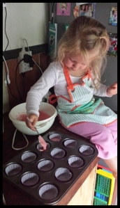 She even spooned out the mixture *note to parents* this step is PAINSTAKINGLY slow, but the sense of achievement makes it all worthwhile