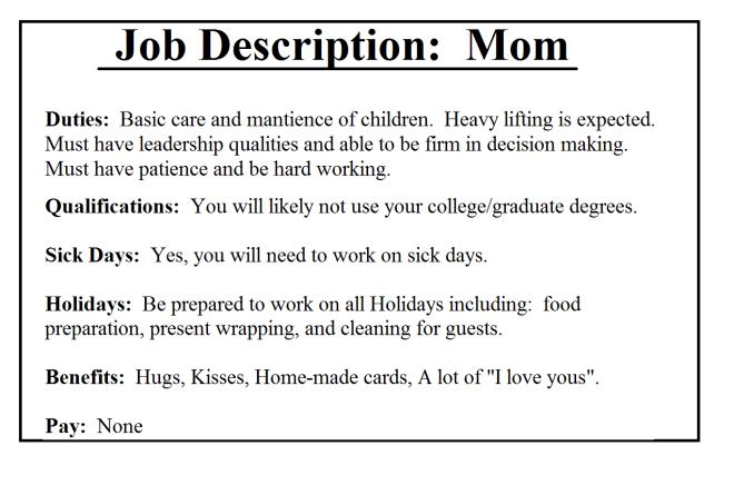 Mom Job Description